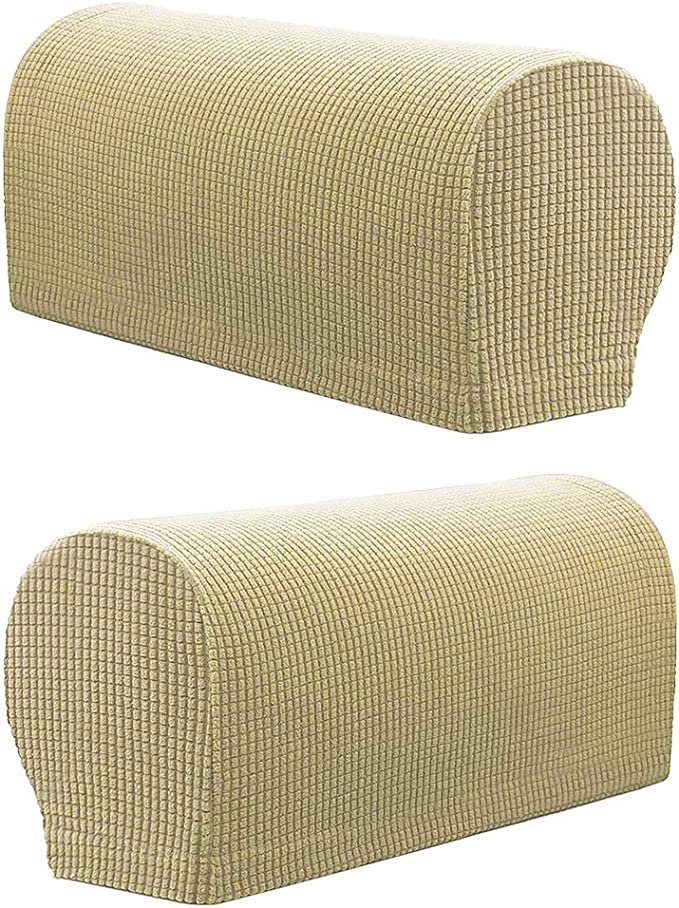 Beige 21.65x3.94x6.5inch P Prettyia Polyster Spandex Stretch Fabric Armrest Covers Seat Protector Sofa Armchair Slipcovers for Universal