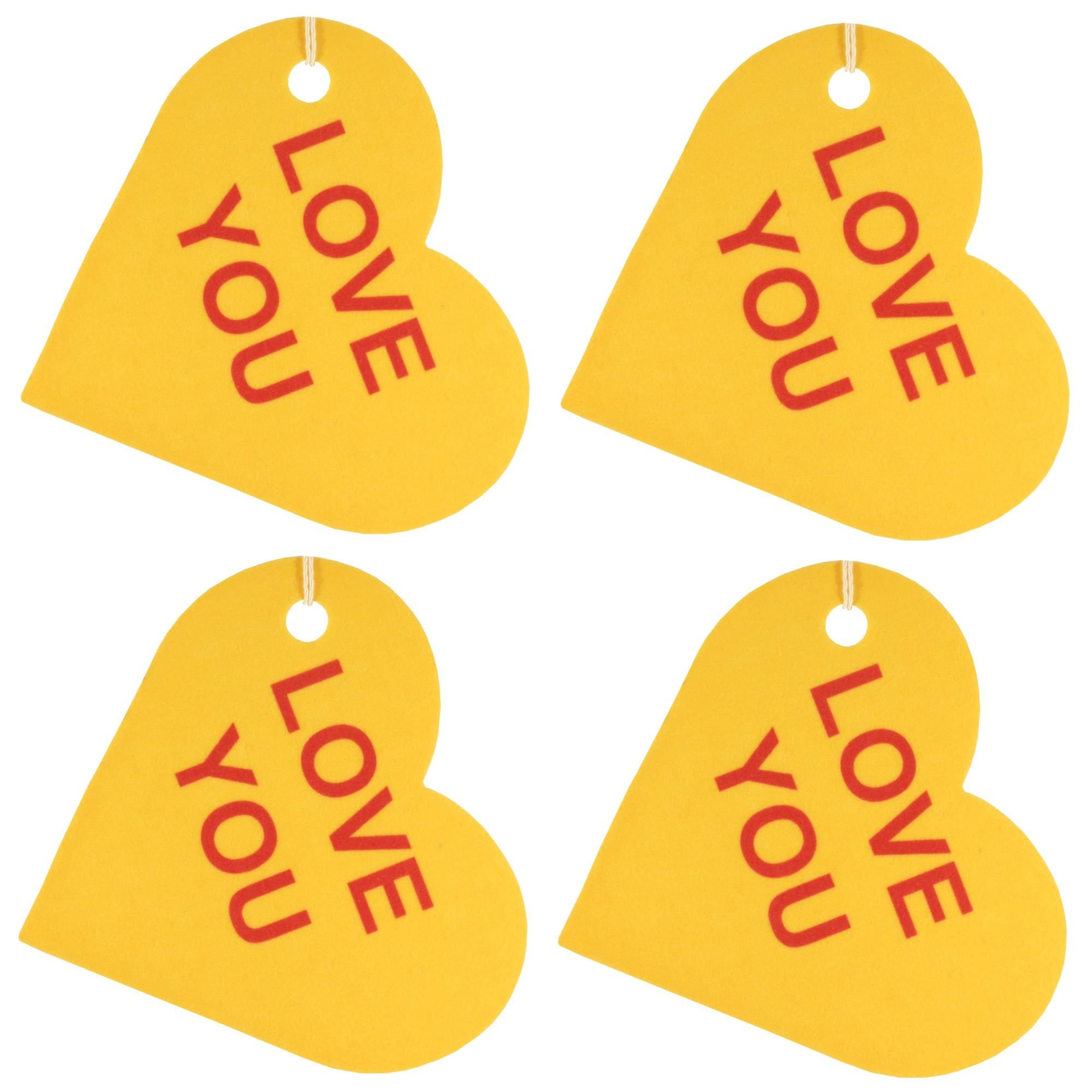 Set of Four Conversation Hearts Air Fresheners, Lavender, Love You