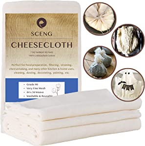 Cheesecloth, Grade 90, 63 Sq Feet, 100% Unbleached Cotton Fabric, Ultra Fine Reusable Cheesecloth for Cooking, Straining (Grade 90-7Yard)