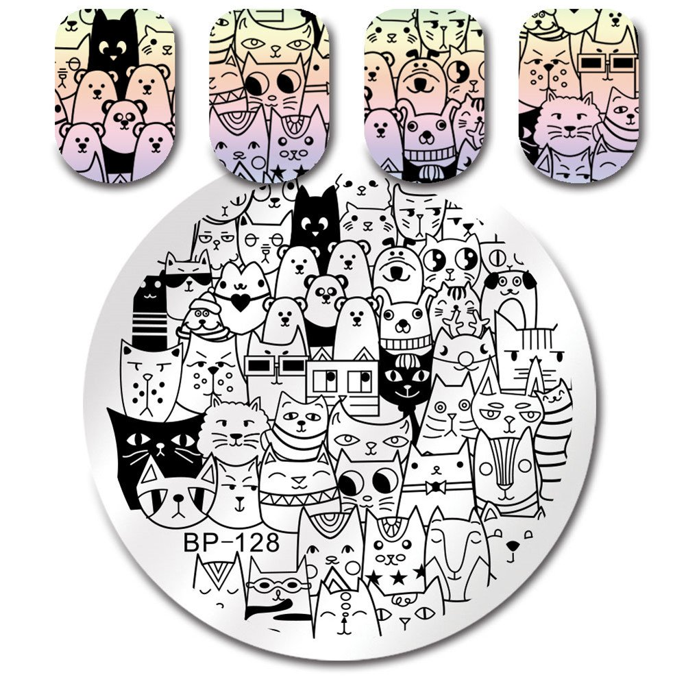 Born Pretty Round Stamping Plate Cat Bear 5.5cm Manicure Nail Art Image Plate BP-128