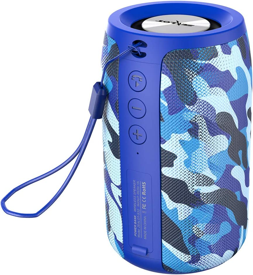 Wireless Bluetooth Speakers Zealot S32 Mini Portable Speaker Clear Calls/Micro SD Card/U Disk/Line-in Modes for Yoga Gym Audiobooks Competible for iOS Andriod -Blue