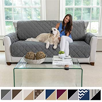 MIGHTY MONKEY Premium Reversible Large Sofa Protector for Seat Width up to 70 Inch, Furniture Slipcover, 2 Inch Strap, Couch Slip Cover Throw for ...