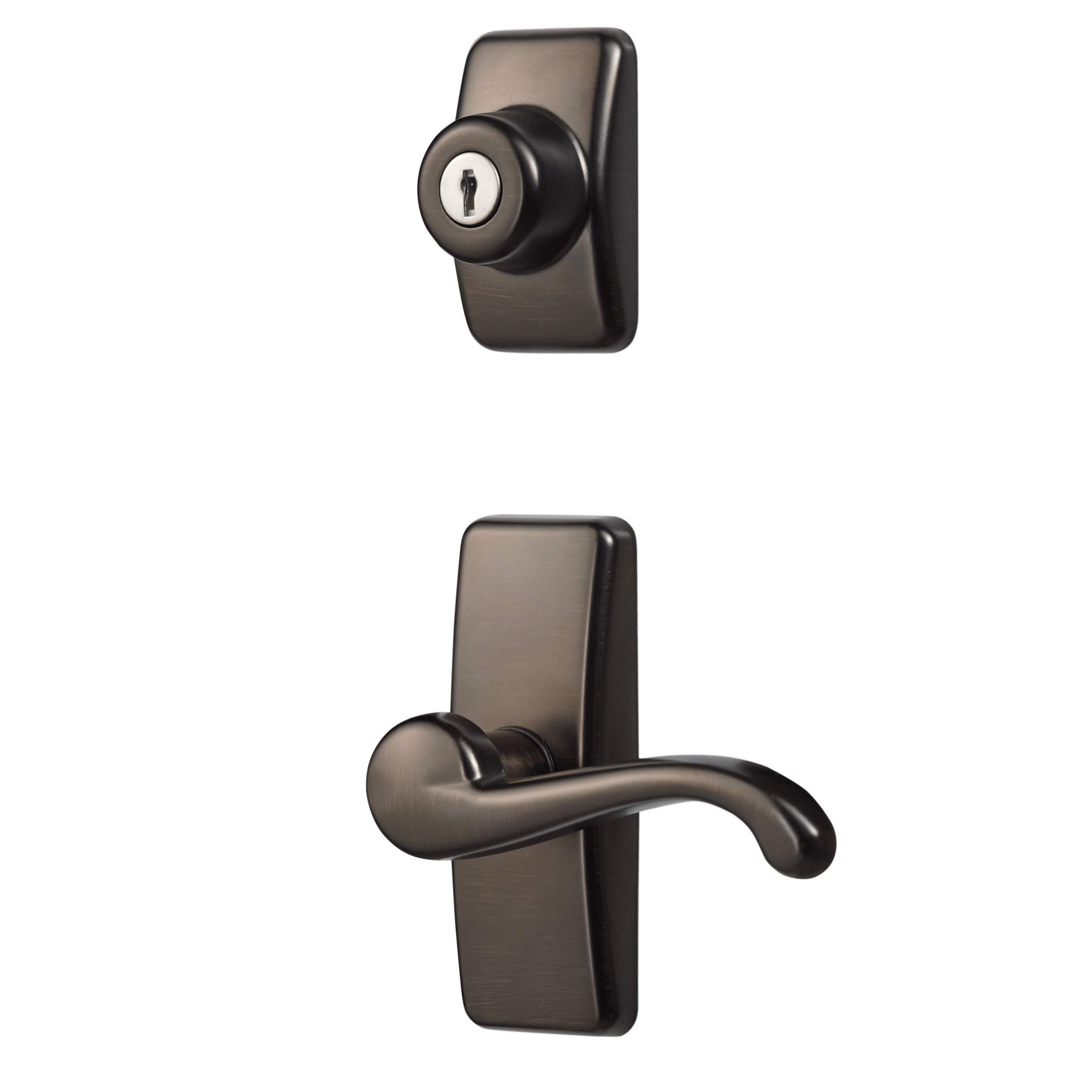 Ideal Security Inc. HK01-I-ORB GL Lever Set for Storm and Screen Doors with with Keyed Deadbolt, 4-Piece, Oil Rubbed Bronze