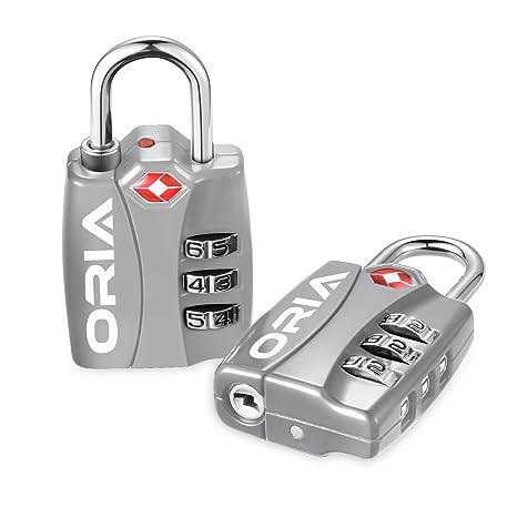 Oria - Candado de seguridad TSA (2 unidades, combinación de 3 dígitos, cerradura