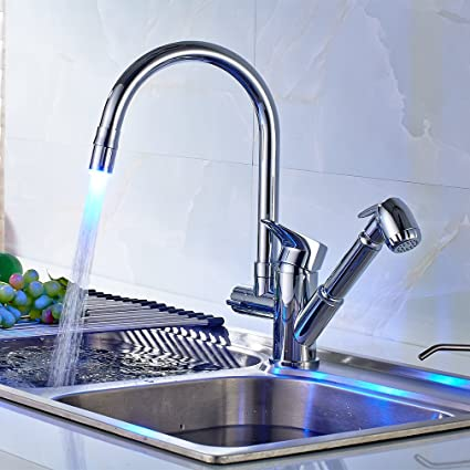 ROVATE LED Kitchen Faucet With Pull Out Side Sprayer, Swivel Single Hole  Double Outlet Kitchen