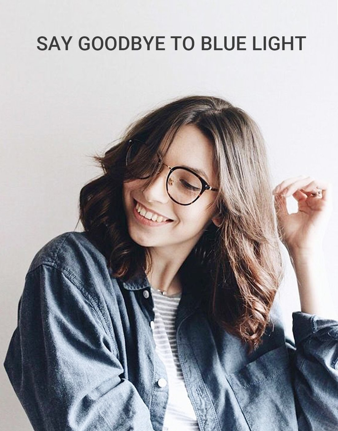 TIJN Round Blue Light Filter Computer Glasses Eyeglasses for Women Transparent Lens((Blue Light Block) Tortoise, 50) by TIJN (Image #3)