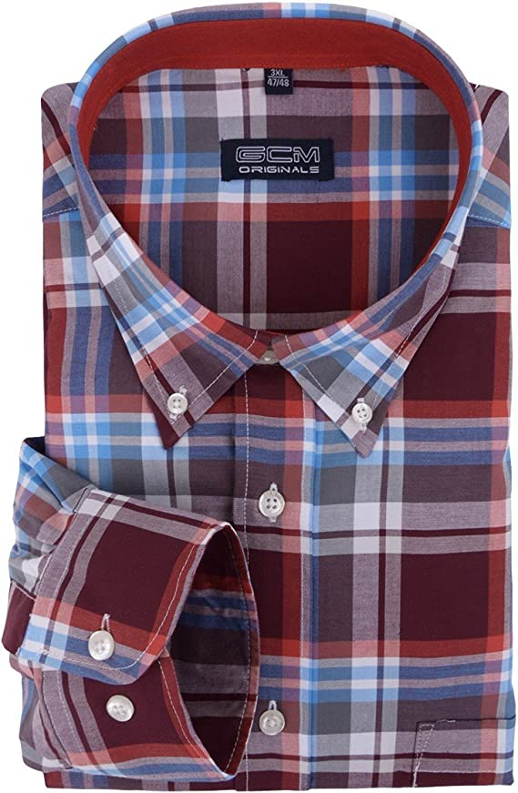 GCM Camisa Manga Larga Cuadros roja Oscura-Azul-Gris, 2xl-8xl ...