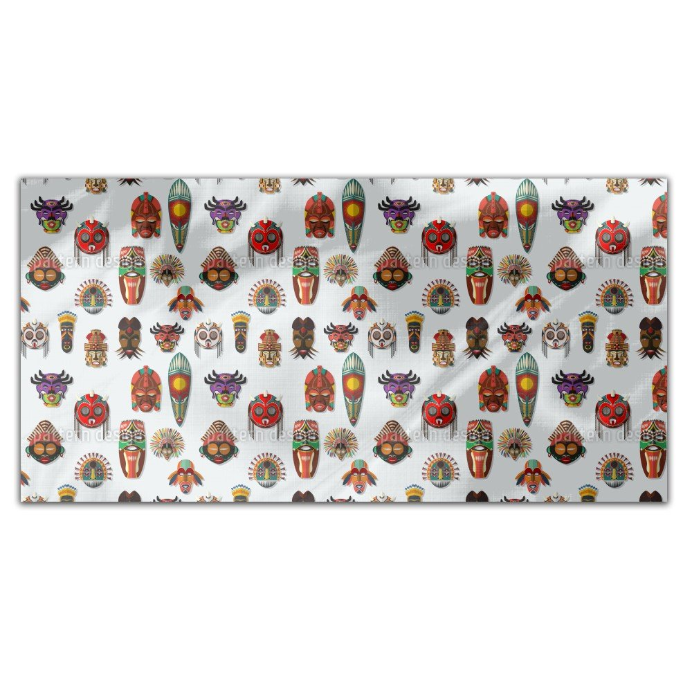 Masks On The Wall Rectangle Tablecloth: Medium Dining Room Kitchen Woven Polyester Custom Print