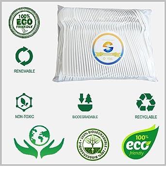 Cubertería desechable resistente de almidón de maíz de Ruihome, 100 % ecológica, biodegradable, compostable, juego de 17,8 cm, paquete de 100 Spoons: ...