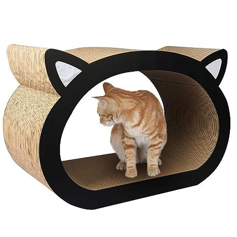 Casa de cartón corrugado con nébeda y rascador para gatos Sunshineworldauk