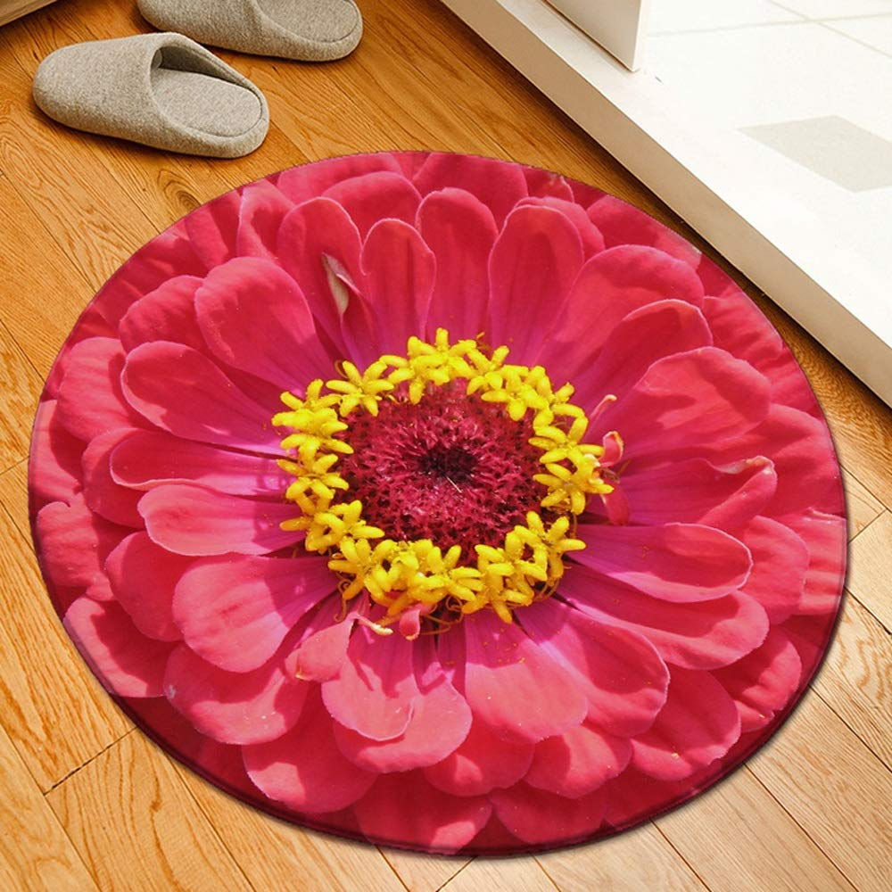 ZCXBB Round Carpet Floor Mat 3D Flower Print Living Room Non-Slip Carpet Flannel Floor Mat Custom (Color : Red)