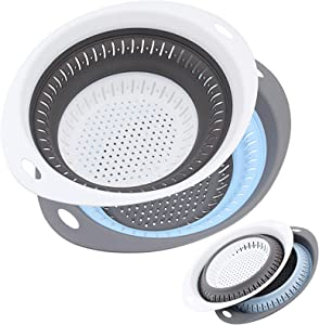 BUYAOBL 2 Pack Collapsible Colander Set, Silicone Folding Drain Basket Space-Saver Folding Strainer Perfect for Draining Pasta, Vegetables and fruits, BPA Free Silicone Food Strainer (Oval White+Blue)