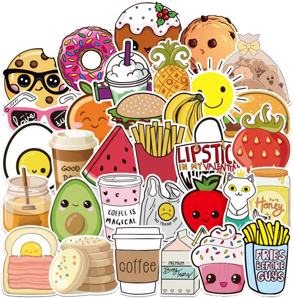 100Pcs VSCO Ins Style Lovely Ice Cream Food Stickers for Water Bottle Cup Laptop Guitar Car Motorcycle Bike Skateboard Luggage Box Vinyl Waterproof Graffiti Patches XQX