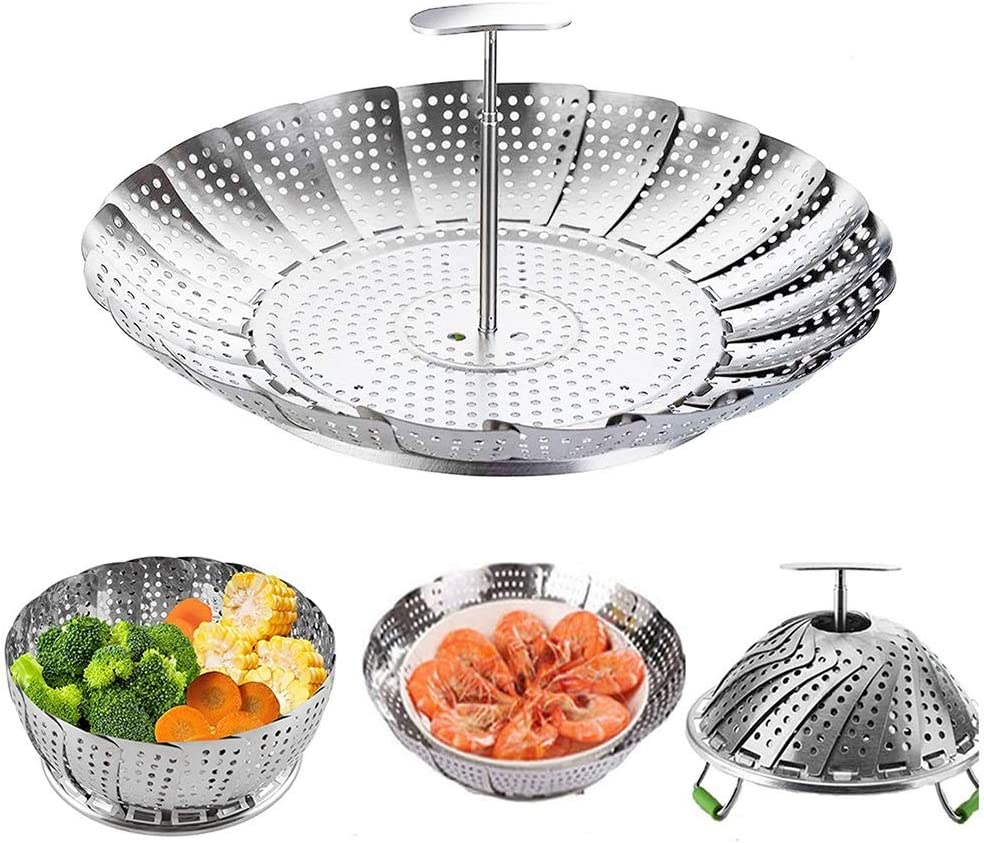 """Steamer Basket Stainless Steel Vegetable Steamer Basket Folding Steamer Insert for Vegetable Fish Seafood Cooking Expandable Steamers Fit Various Size Pot 5.5"""" to 9"""""""
