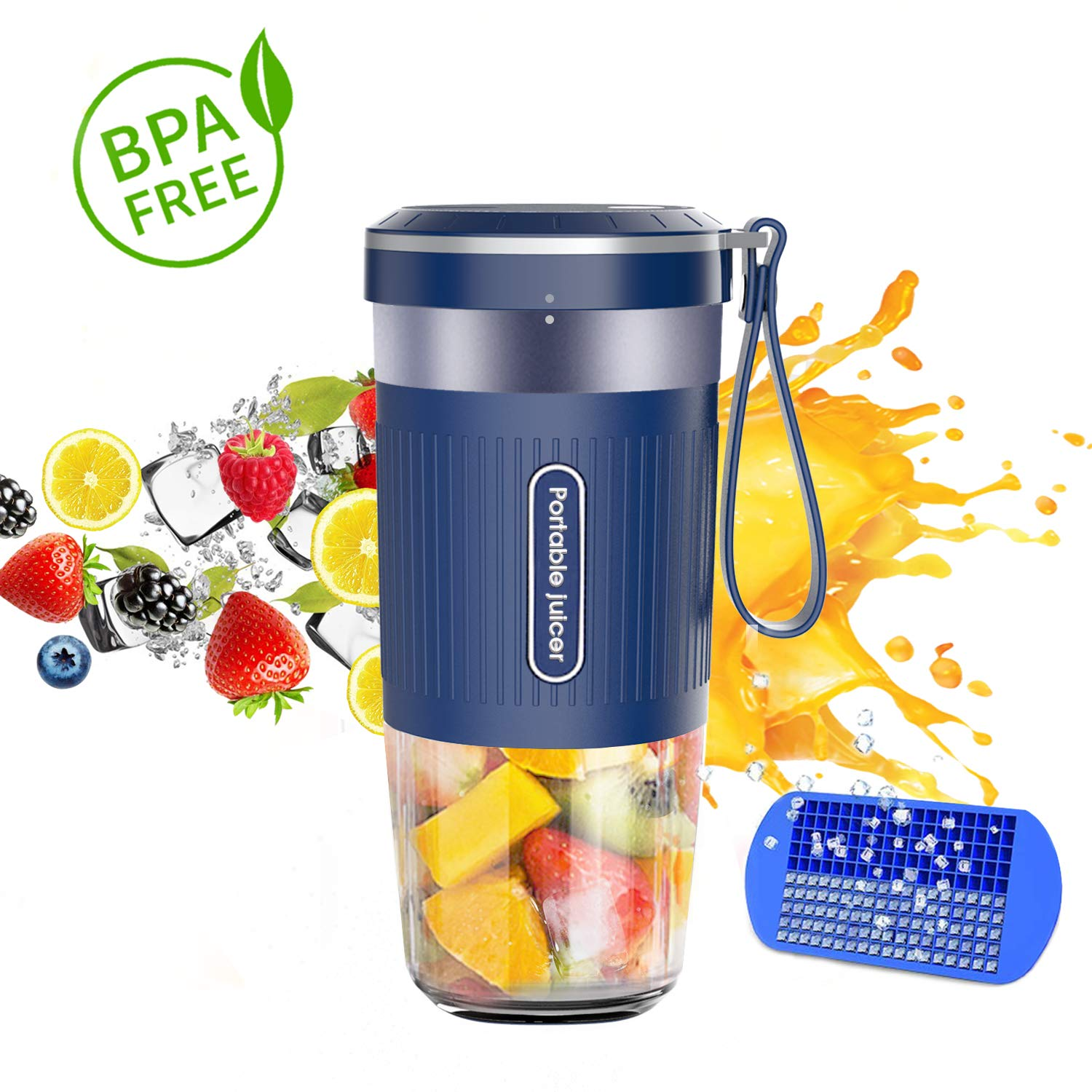 Portable Blender, Cordless Personal Blender Juicer, Mini Mixer, Waterproof Smoothie Blender With USB Rechargeable, BPA Free Tritan 300ml, Home, Office, Sports, Travel, Outdoors by Chefavor
