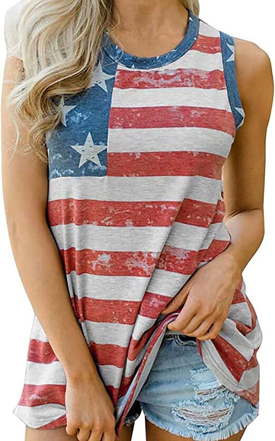 Womens Patriotic Shirt USA Flag Letters Print Sleeveless T-Shirt Hollow Out V-Neck Tank Tops 4th of July Tee Tops
