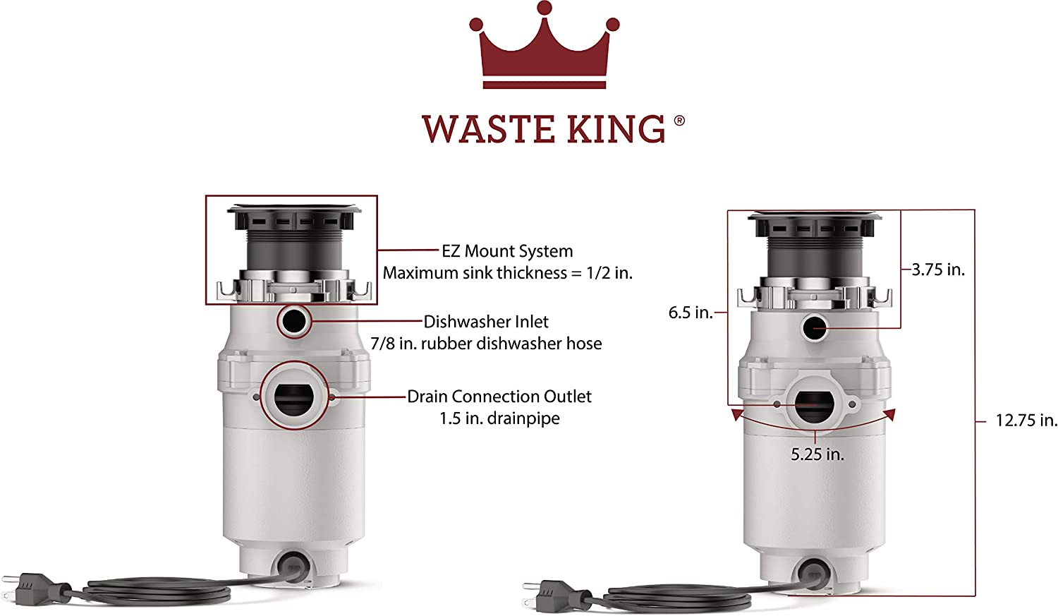 Waste King L-111 Garbage Disposal with Power Cord, 1/3 HP - Food Waste Disposers -