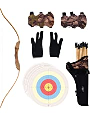 UTeCiA 30 Pcs Complete Archery Set for Kids & Beginners – Safety Rubber Tip Arrow Pack, Handcrafted Wooden Bow, Fabric Quiver, Arm Guard, Finger Glove, Target Sheets - Outdoor and Indoor Shooting Toy
