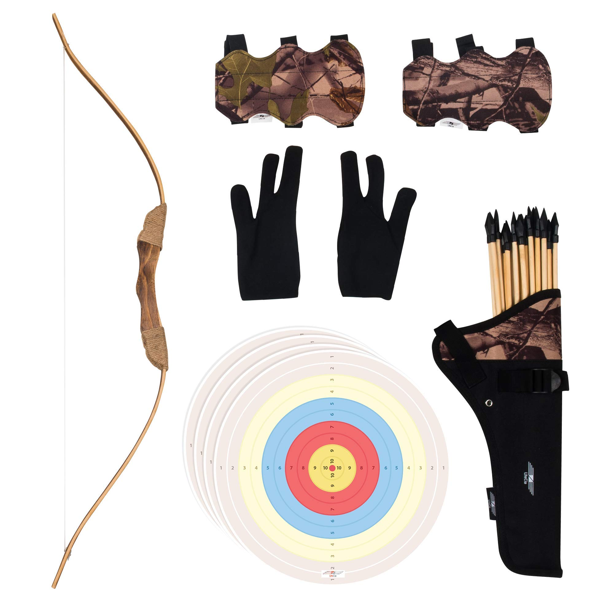 UTeCiA 30 Pcs Complete Archery Set for Kids & Beginners - Safety Rubber Tip Arrow Pack, Handcrafted Wooden Bow, Fabric Quiver, Arm Guard, Finger Glove, Target Sheets - Outdoor and Indoor Shooting Toy by UTeCiA