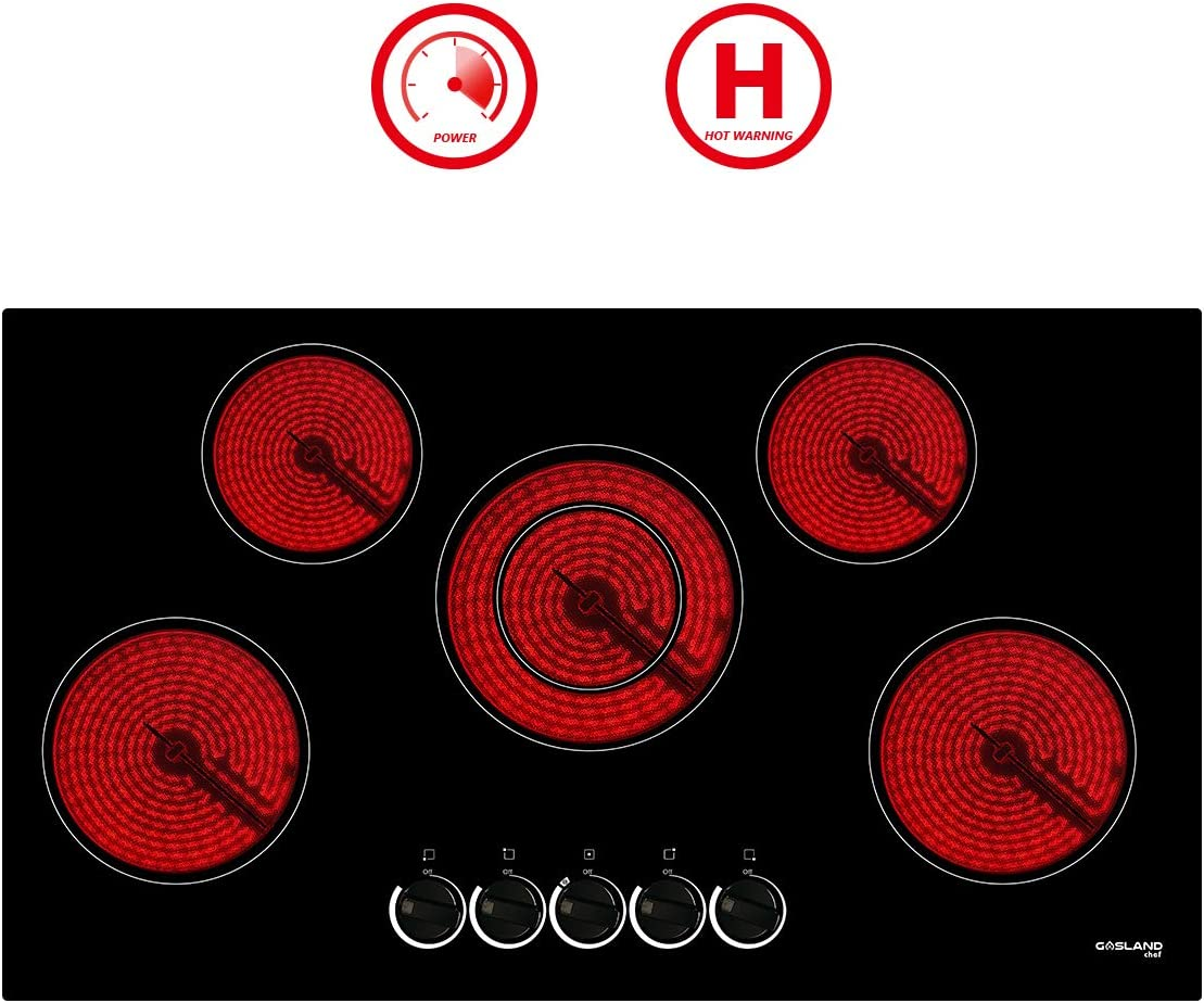 "36"" Electric Cooktop, GASLAND Chef CH90BS 240V Built-in Coil Electric Radiant Hob, 5 Burner 36 Inch Electric Ceramic Stove Top, Drop-in Mechanical Knob Control Electric Cooker with Hot Warning"
