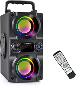 Bluetooth Speaker, 40W (60W Peak) Portable Wireless Speaker with Colorful Lights, Double Subwoofer Heavy Bass, FM Radio, MP3 Player, Bluetooth 5.0, Loud Stereo Speaker for Home Outdoor Party Camping