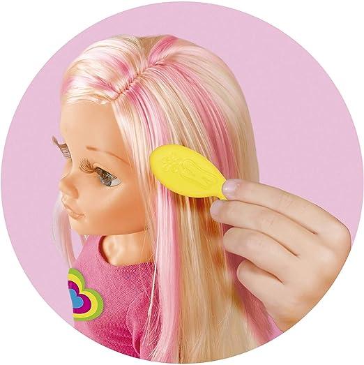 Nancy - Un día haciendo mechas, muñeca con tizas de colores para pintar el pelo y hacer peinados originales, incluye accesorios como un peine y ...