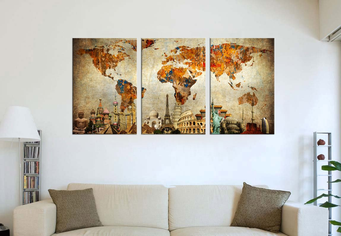 Old world map painting wall art canvas prints extra large 3 panel old world map painting wall art canvas prints extra large 3 panel contemporary pictures modern artwork on canvas framed ready to hang for living room gumiabroncs Choice Image