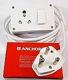 Tia 1 Sockets Power Extension 3 m Cloth Cord, Heavy-duty 16 A Anchor Socket and Plug