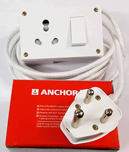 Tia 16 Ampere Sockets Power Extension Cloth Cord, Anchor Socket and Plug , 5 m