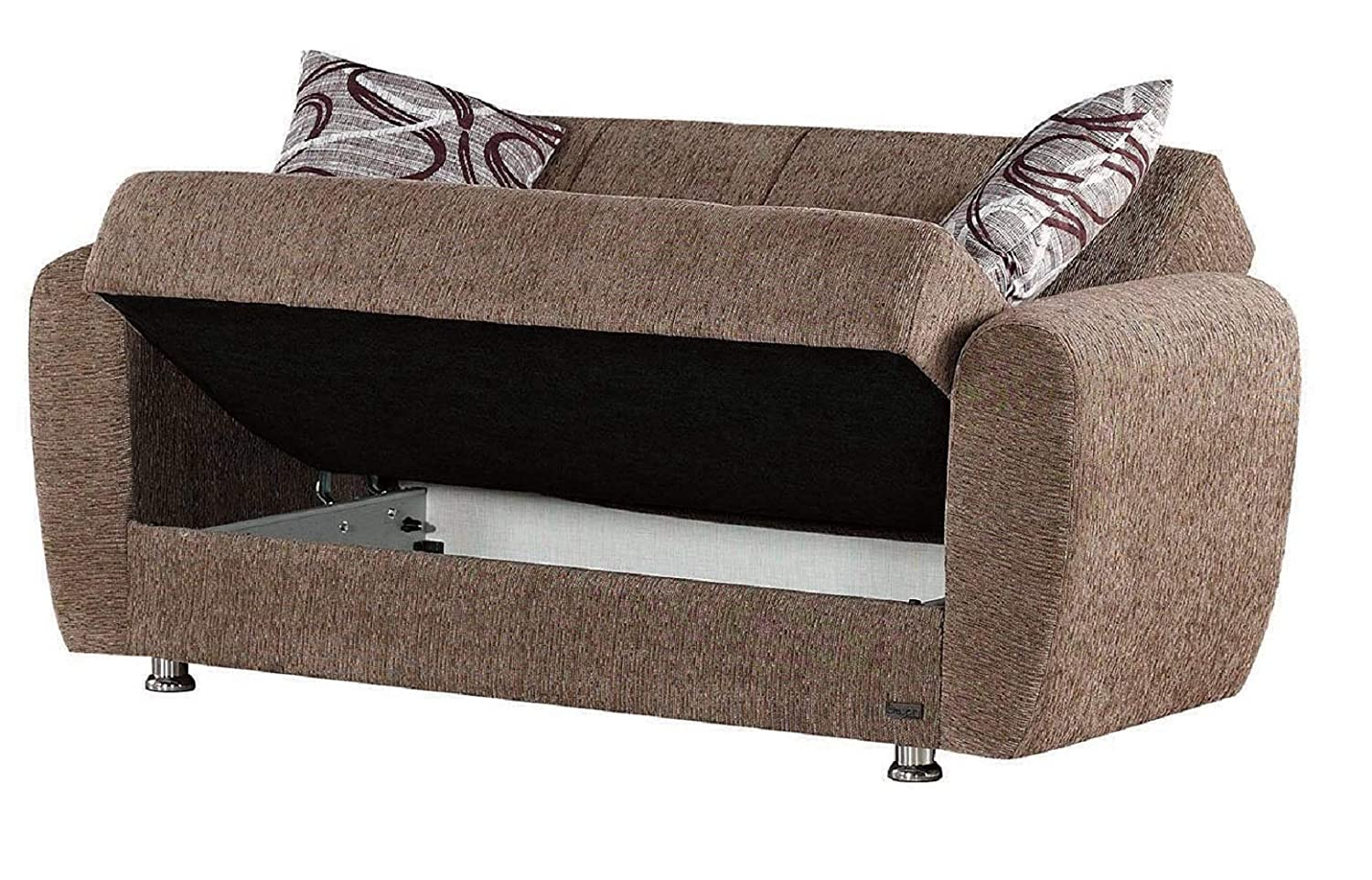 BEYAN Colorado Collection Guest Room Convertible Storage Loveseat with Storage Space, Includes 2 Pillows, Dark Brown