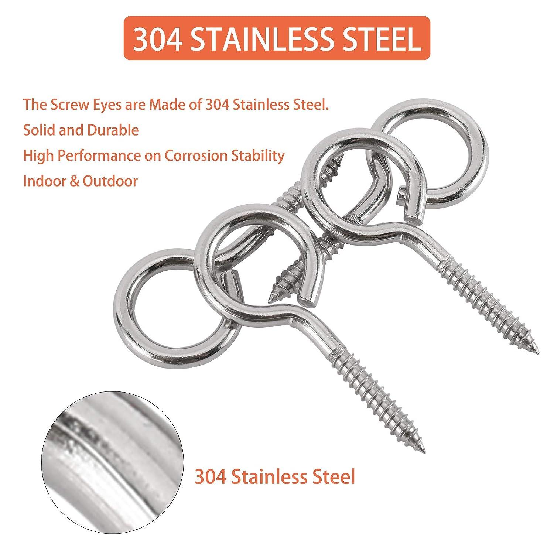 RealPlus 20 Pack of 2 Inch Stainless Steel Eye Screw Eye Bolt Hooks,Lag Thread Eyebolt Ring Self-Tapping Ceiling Hooks