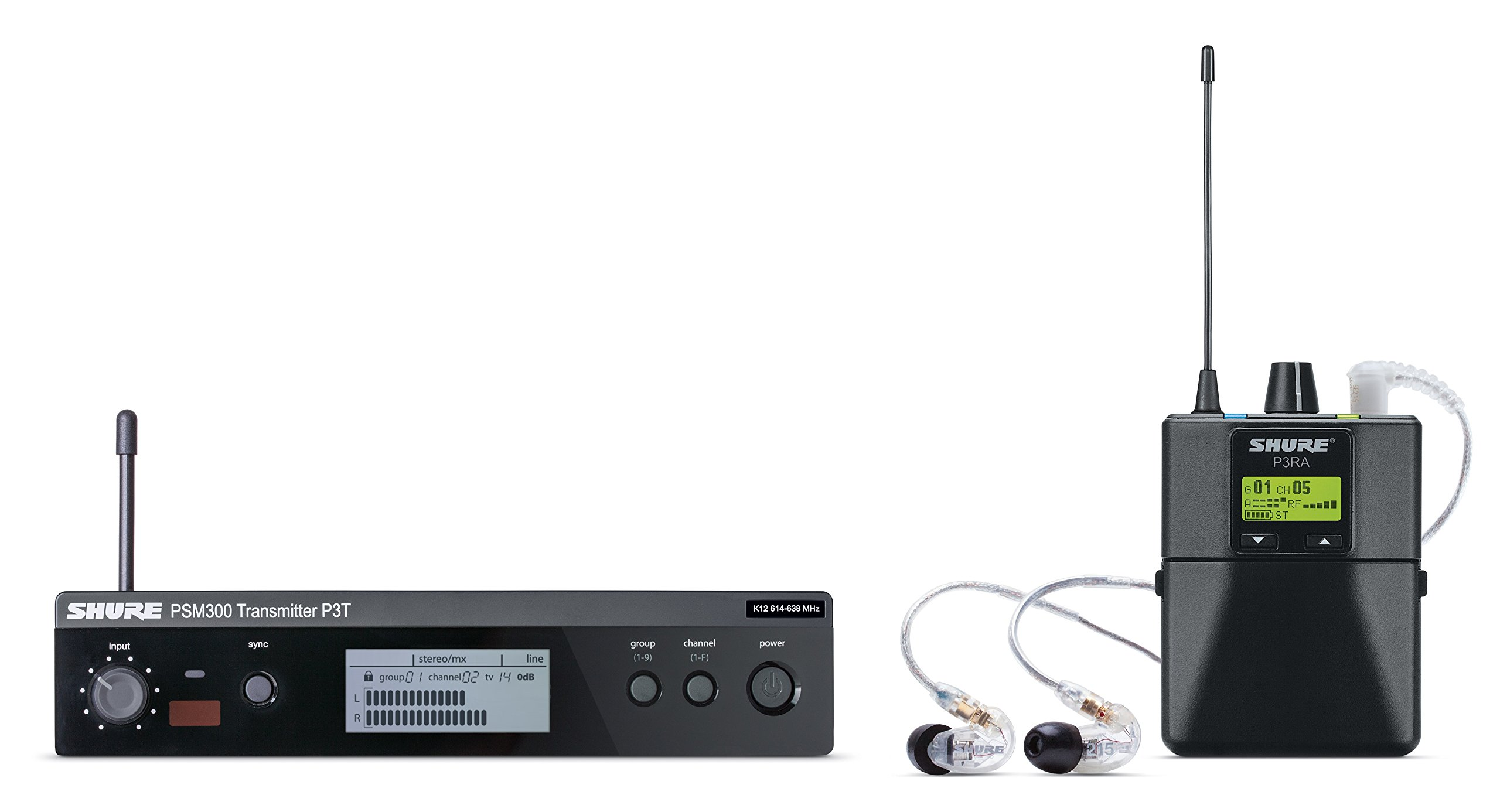Shure P3TRA215CL PSM300 Wireless Stereo Personal Monitor System with SE215-CL Earphones, J13
