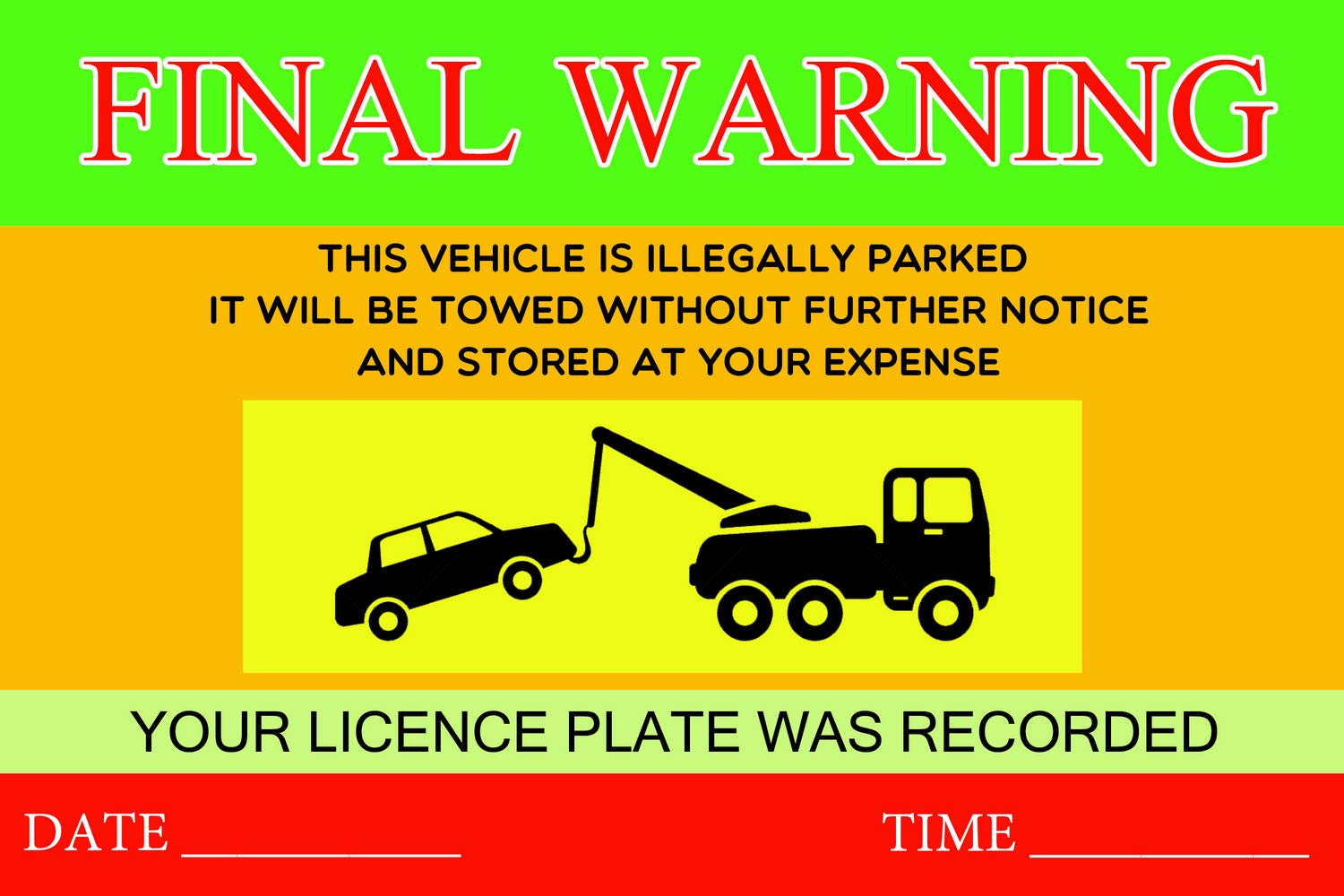Private Parking Stickers Reserved No Permit Area Violation Warning Notice Label Sticker - 9x6 Inch - Pack of 500, Yellow by PrintValue