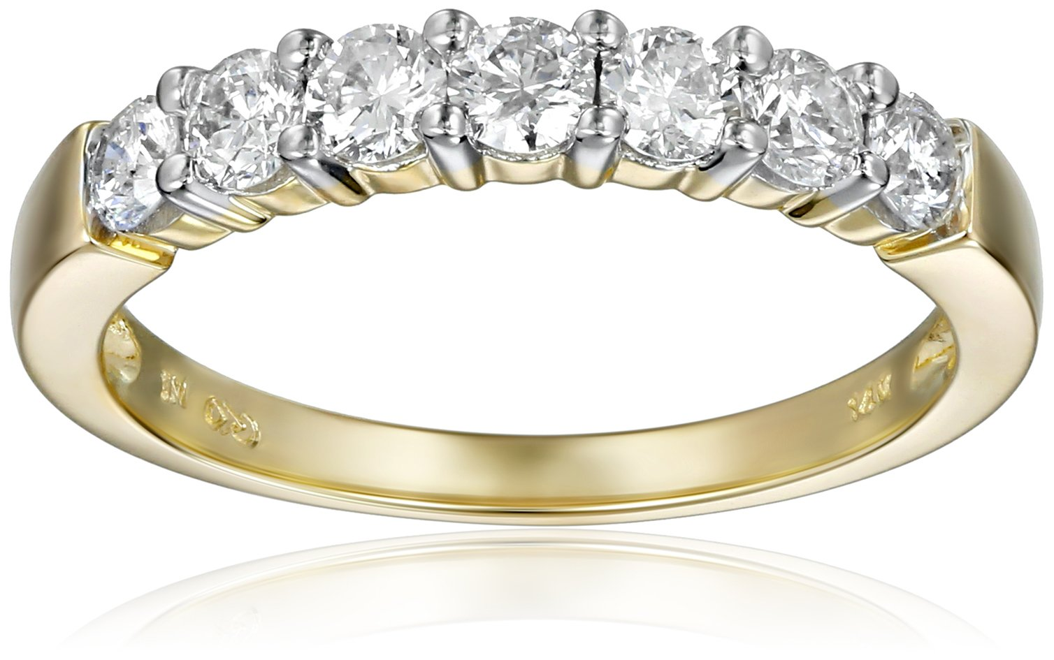 14k Yellow Gold 7-Stone Diamond Ring (3/4 cttw, H-I Color, I1-I2 Clarity), Size 7