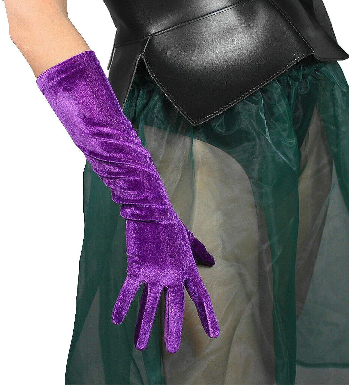 DooWay Fashion Velvet Opera Long Gloves Purple Stretchy Women Party Proms Costume Finger Gloves