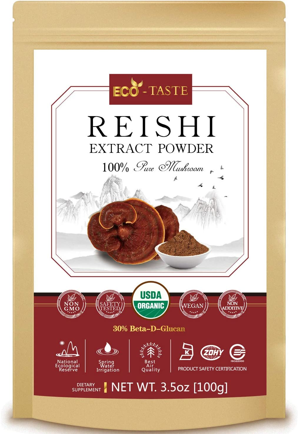 Reishi Mushroom Extract Powder 20 1,USDA Organic, 30 Beta-D-Glucan Supplement, 3.5oz
