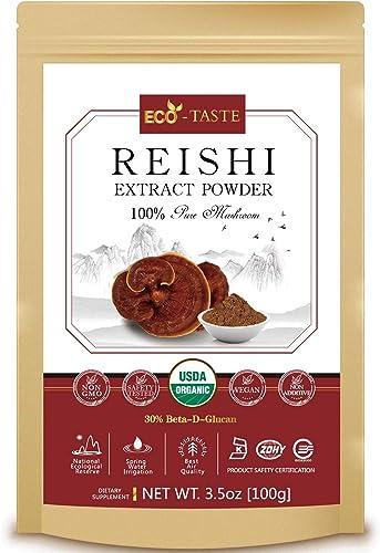Reishi Mushroom Extract Powder 20 1,USDA Organic, 30 Beta-D-Glucan Supplement, 3.5oz