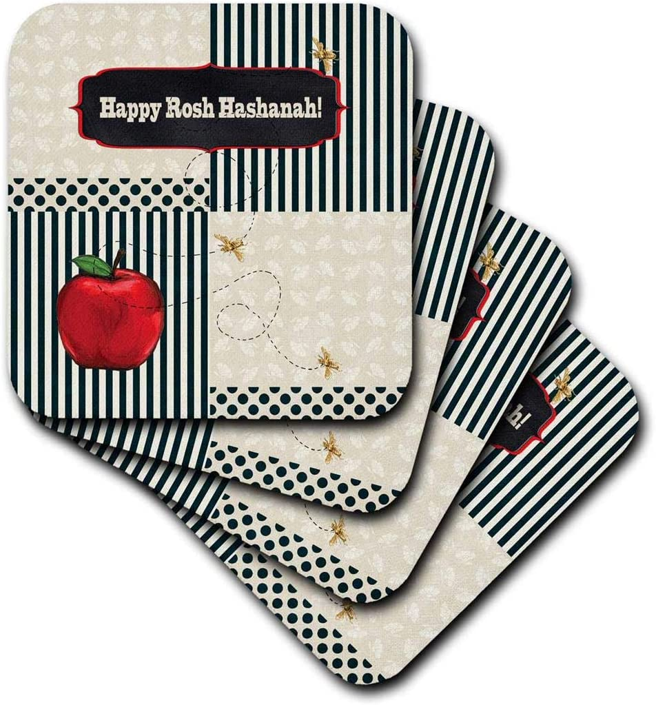 3dRose cst_167277_2 Rosh Hashanah, Red Apple, Gold Bees, Stripes, Dots and Leaves-Soft Coasters, Set of 8