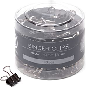 U Brands Binder Clips, Micro 1/2-Inch Width, 1/5-Inch Paper Holding Capacity, Black and Silver Steel, 100-Count - 650U08-24