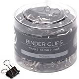 U Brands Binder Clips, Micro 1/2-Inch Width, 1/5-Inch Paper Holding Capacity, Black and Silver Steel, 100-Count