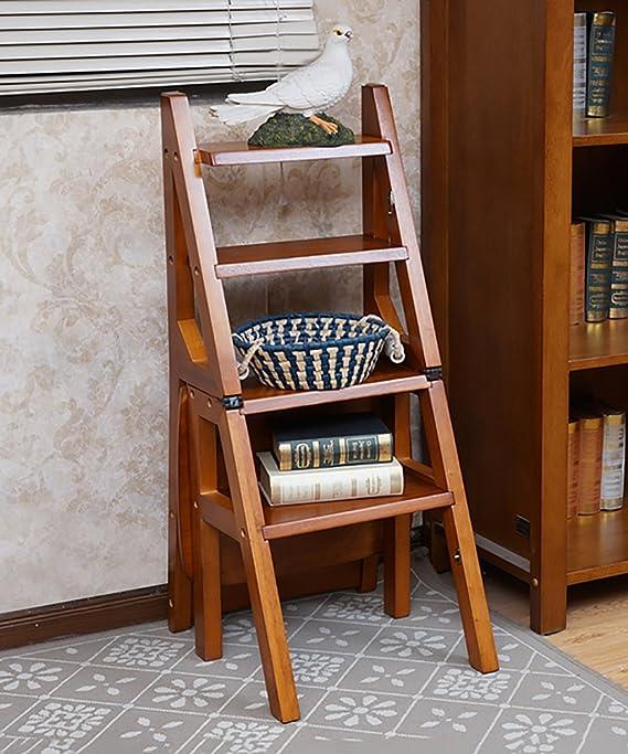 LIXIONG Multifunción Escalera De Silla Nórdico Creativo Plegable De Madera Maciza Silla Escaleras Taburete taburetes de la Biblioteca (Color : B): Amazon.es: Hogar