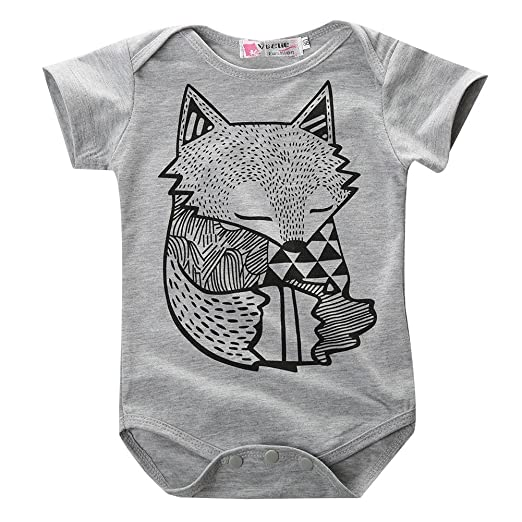 cde3645cad1ff Amazon.com: Hotone Baby Boys Girls Rompers Kids Little Fox Figure Short  Sleeve Suits Set: Clothing