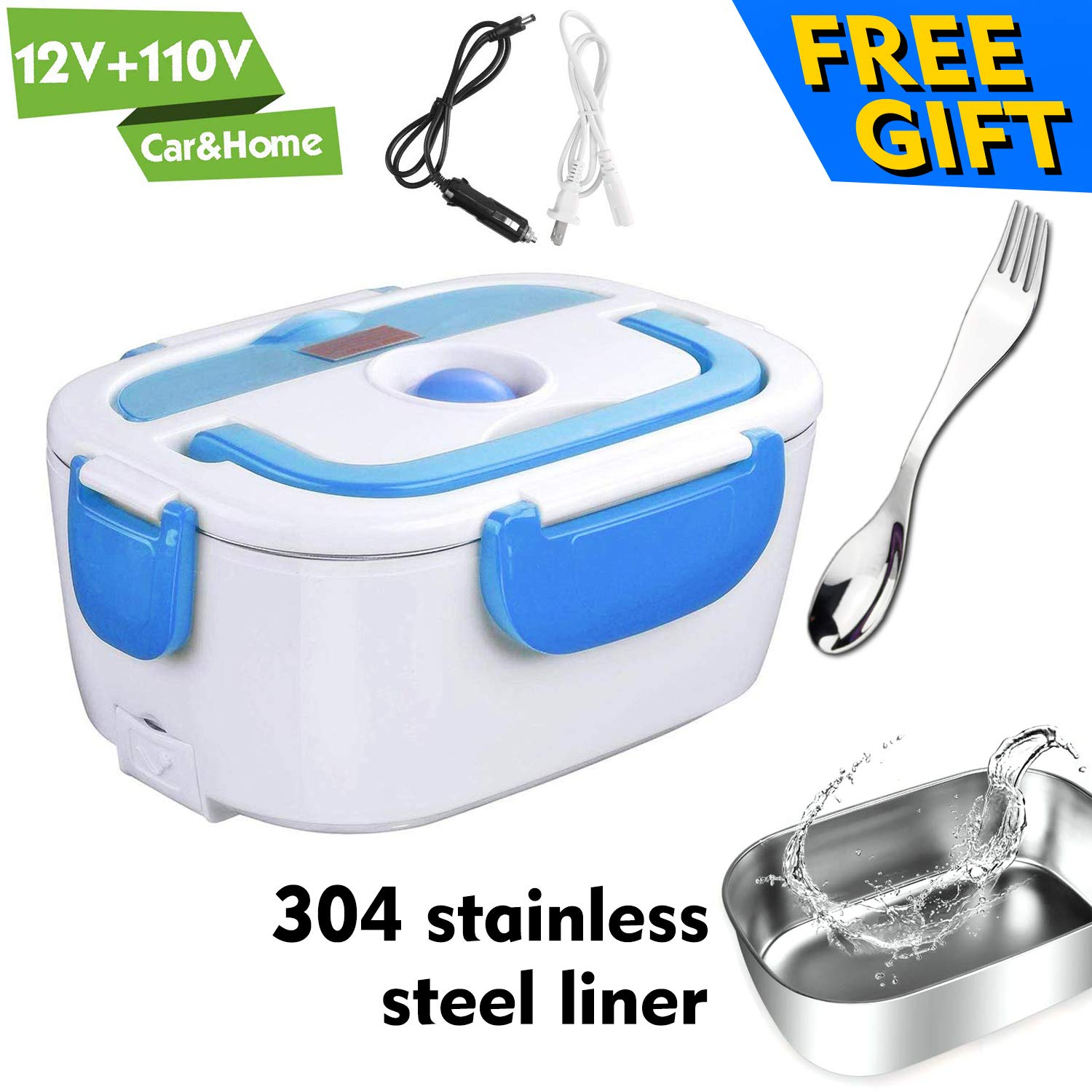 Electric Lunch Box for Car and Home 110V & 12V 40W - Removable Stainless Steel Portable Food Grade Material Warmer Heater - with 2 in 1 Fork & Spoon by HEIGE