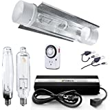 iPower 1000W HPS MH Bulb Grow Lights System Kits with Air Cooled Tube Reflector Hood and 1000 Watt Digital Dimmable Ballast for Indoor Plants, Add-on Wing
