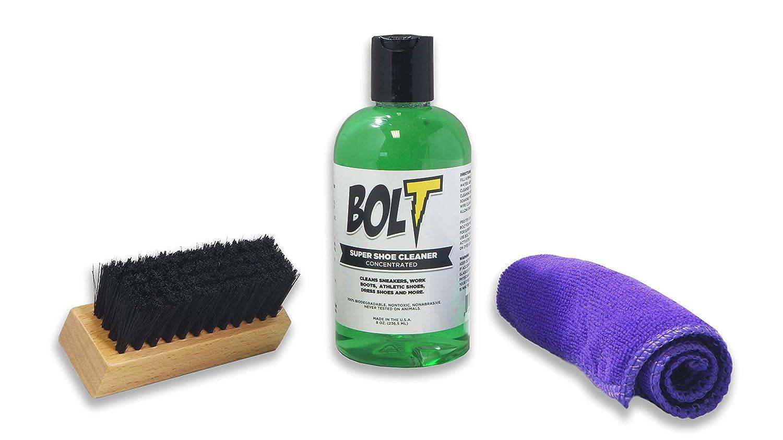 Bolt Premium Shoe Sneaker Cleaner Kit - Shoe Brush, 8 Oz. Concentrated Solution (2 Quarts After Dilution), Microfiber Towel. Biodegradable, All-Natural. Safe on Vinyl, Rubber, Fabrics, Canvas, Leather