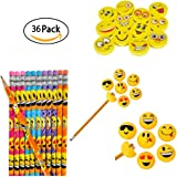 Rhode Island Novelty Emoji Party Favor and Giveaway Pencil, Eraser and Sharpener Gift Set, 36-Piece