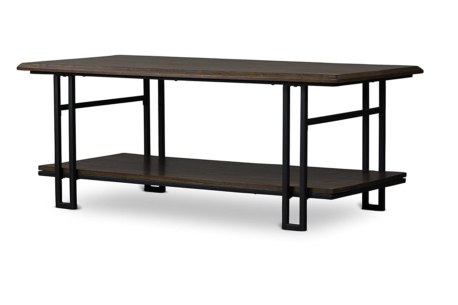 Amazon Com Baxton Studio Newcastle Wood And Metal Coffee Table Brown Kitchen Dining