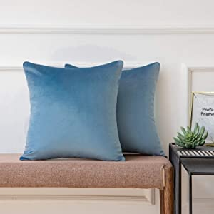 Ashler Pack of 2 Soft Velvet Decorative Throw Pillow Cushion Cover Sets Blue Grey 20 X 20 Inches 50 x 50 cm