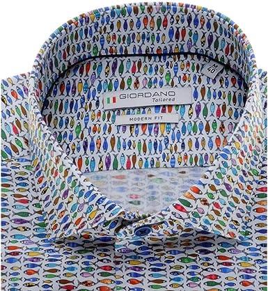 GIORDANO Camisa de algodón a medida con diseño de pescado ...
