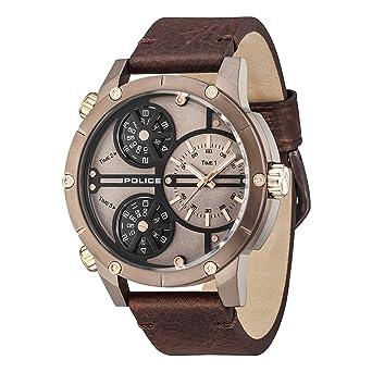 Police Reloj Analógico para Hombre de Cuarzo con Correa en Cuero PL14699JSBN.12: Amazon.es: Relojes